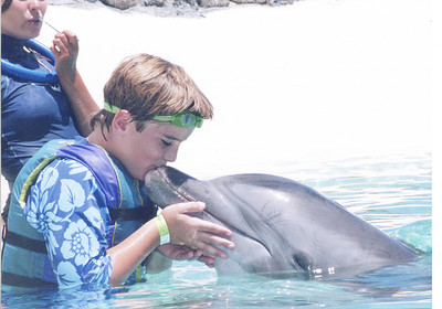 "August 19, 2006 Oahu - Sealife Park - Nate kissing ""Bugs,"" a dolphin who recently did some ""top secret"" government work..."