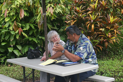 8-16-06 Kona - Eruption of Flavor tour - Mom resting and socializing with the bus driver (Polynesian Tours)