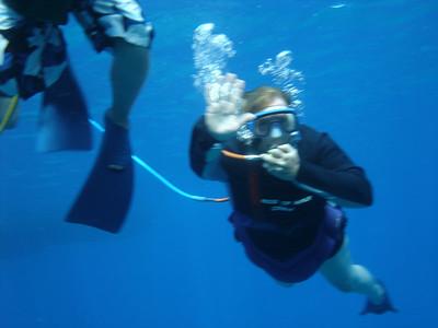 August 15, 2006  Maui - Pride of Maui - Molokini Snorkel. Mary Beth snuba diving