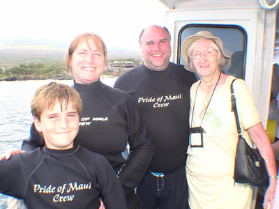 August 15, 2006  Maui - Pride of Maui - Molokini Snorkel. - Nate (8), Mary Beth (48), Glen (42), Vivian (80).