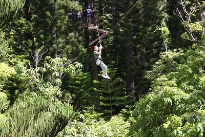 8-17-06 Kauai - Treetop Zipline Eco Adventure - Mom looking pretty natural