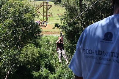 8-17-06 Kauai - Treetop Zipline - Here goes MB!