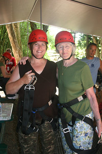 8-17-06 Kauai - Treetop Zipline Eco Adventure - MB & Mom making preparations