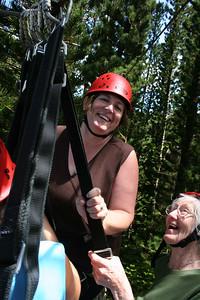 8-17-06 Kauai - Treetop Zipline Eco Adventure - This is great fun. Mom & MB