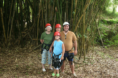 8-17-06 Kauai - Standing in front of large bamboo plants at the zipline co.