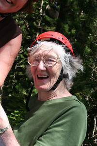 8-17-06 Kauai - Treetop Zipline Eco Adventure - Mom at 80.