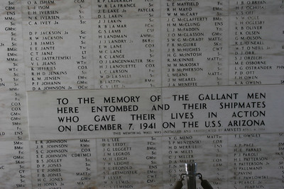 8-19-06 U.S.S. Arizona Memorial - Mom knew two men who were killed on Pearl Harbor - Raymond Powell and a man whose last name was Peppers.  They must have been on a different ship because their names weren't here.  Mom cried during the cinema presentation