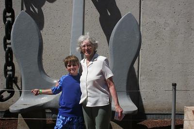 8-19-06 U.S.S. Arizona Memorial - The anchor of the U.S.S. Arizona - Mom & Nate (80 & 8 - both with birthdays coming soon...)