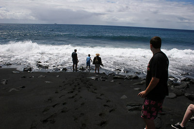 8-13-06 Secrets of Puna - Dad & Nate on the black sand