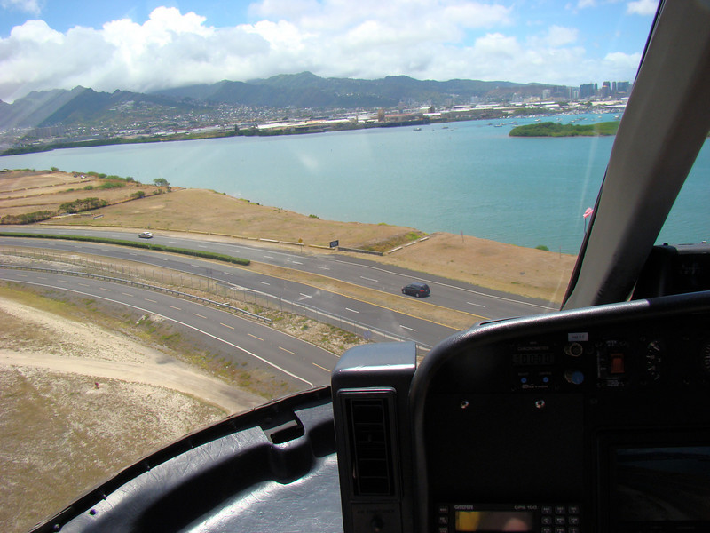 I took a helicopter tour of the island, here we are just taking off from Honolulu airport.