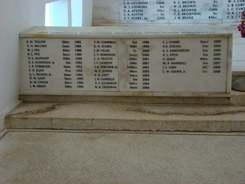 The are a list of the sailors who survived the attack, but when they later died they wanted to have their remains placed on the ship with their fallen shipmates.