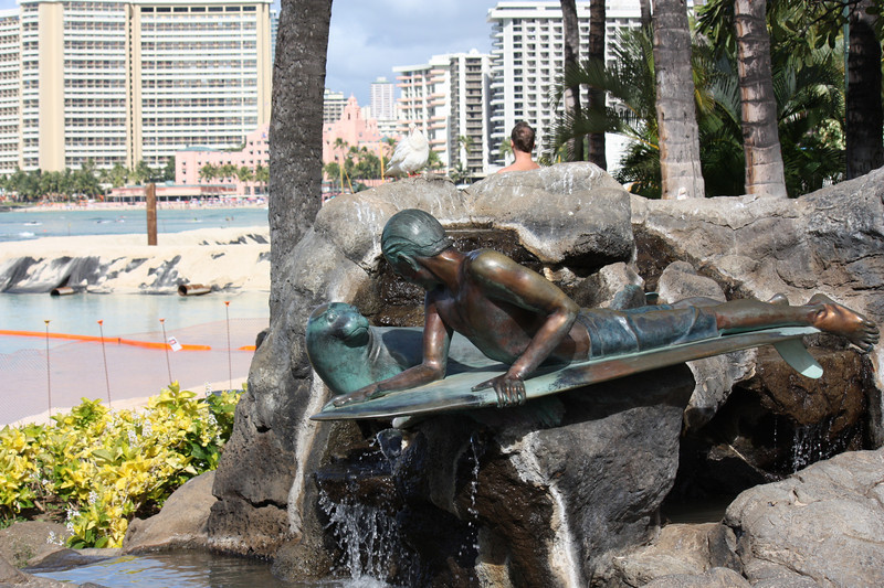 On Waikiki Beach, a statue of famous surfer dude, Duke Kahanamoku, who helped popularize surfing in the early part of the 1900's.