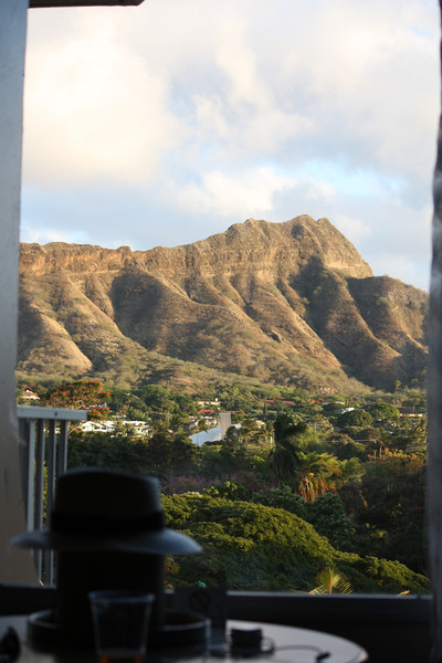 The view from our hotel in Honolulu.  it was a little run down, but had a great location, 1/2 block from Waikiki Beach.  Obviously, it had good views out windows on the Diamond Head side of the building.