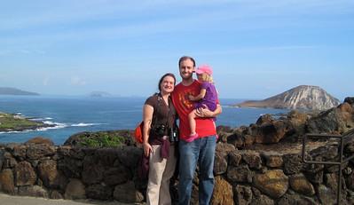 October 12, 2013 -- (Makapu'u Beach Overlook, Honolulu County, Waimanalo, Hawaii) -- Katie, Jonathon & Ada over Makapu'u Beach and Rabbit Island