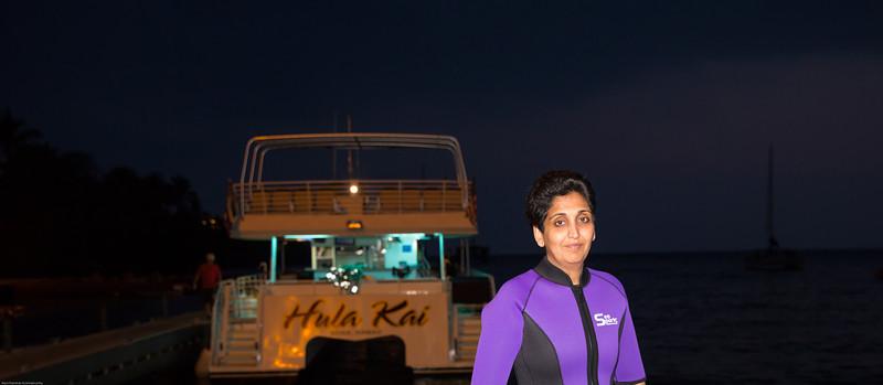 Sunday night.... getting ready to swim with the Manta rays
