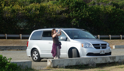October 12, 2013 - (Makapu'u Beach, Honolulu County, Waimanalo, Hawaii) -- Katie with our Dodge Caravan