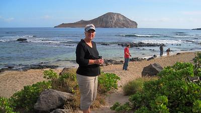 October 12, 2013 - (Makapu'u Beach, Honolulu County, Waimanalo, Hawaii) -- MaryAnne & Jonathon with Rabbit Island in background
