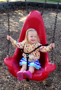October 10, 2013 - (Schroeder Park [playground] / Manchester, Saint Louis County, Missouri) -- Ada went to the park with Papa [David] while MaryAnne [Nan] packed for Hawaii