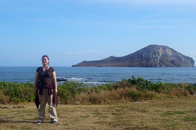 October 12, 2013 - (Makapu'u Beach, Honolulu County, Waimanalo, Hawaii) -- Katie with Rabbit Island in background