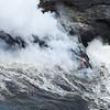 Closer View of Lava entering the Sea