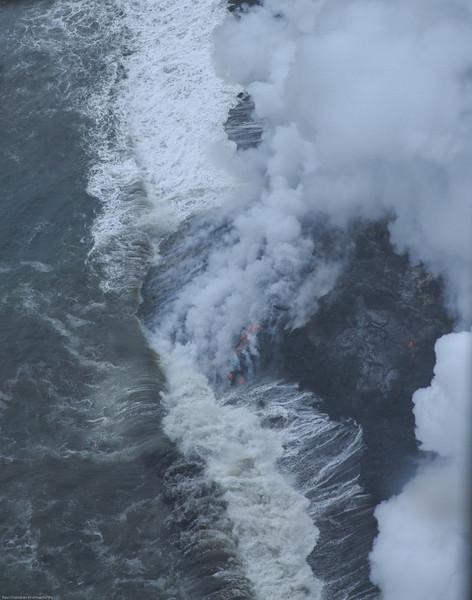 The Lava entering the sea near Kalapana coast near Hilo