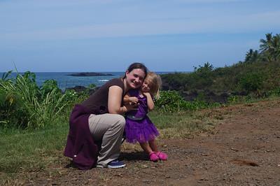 October 12, 2013 - Katie & Ada at overlook near Waimea
