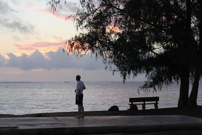 October 13, 2013 - (Bellows Air Force Station, Honolulu County, Waimanalo, Hawaii) -- Jonathon at Bellows beach before sunrise
