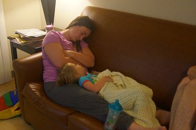 October 12, 2013 - (Bellows Air Force Station, Honolulu County, Waimanalo, Hawaii) -- Katie and Ada before bedtime at Bellows AFS lodging after an exhausting day