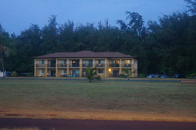October 13, 2013 - (Bellows Air Force Station, Honolulu County, Waimanalo, Hawaii) -- Our lodging rooms at Bellows AFS as seen from the beach before sunrise