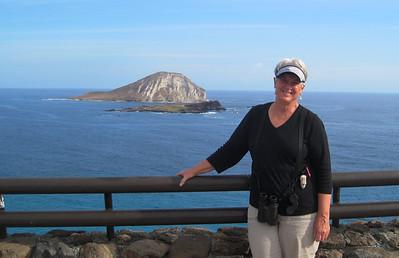 October 12, 2013 -- (Makapu'u Beach Overlook, Honolulu County, Waimanalo, Hawaii) -- MaryAnne over Makapu'u Beach and Rabbit Island