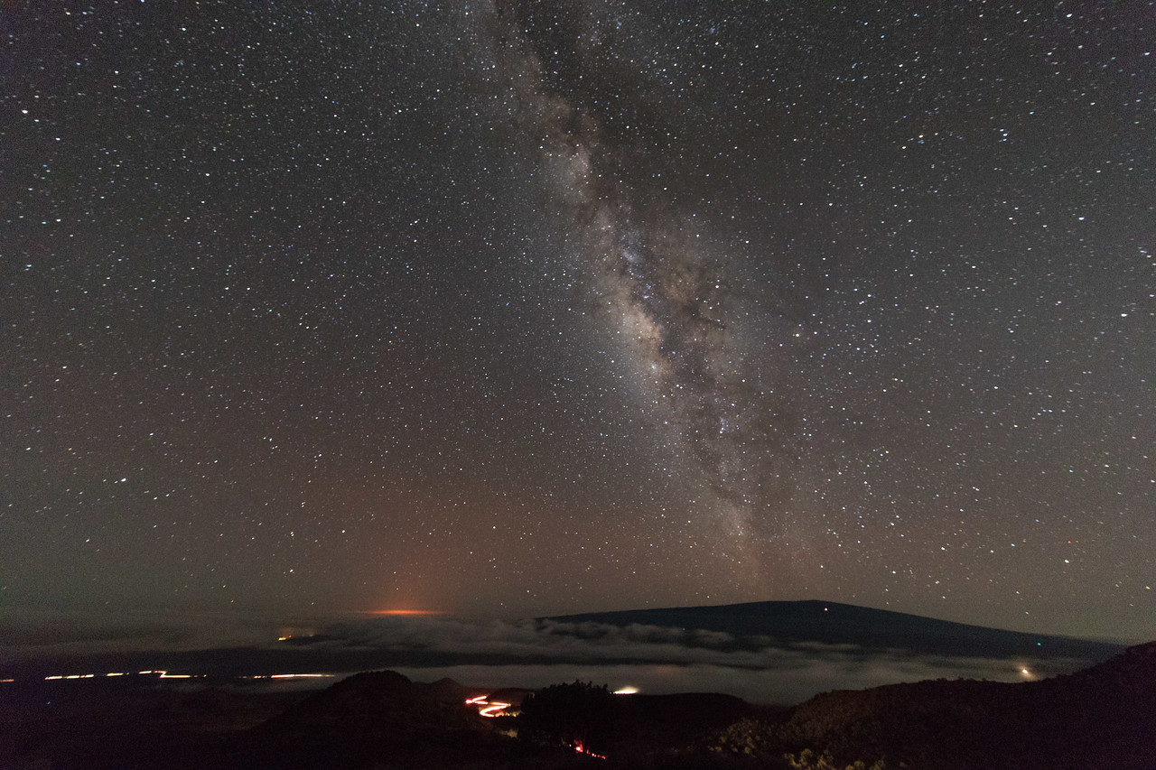 Galaxy and volcano and traffic
