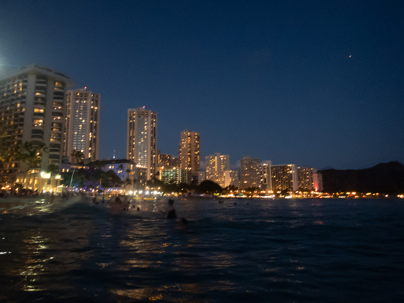Waikiki Beach at night