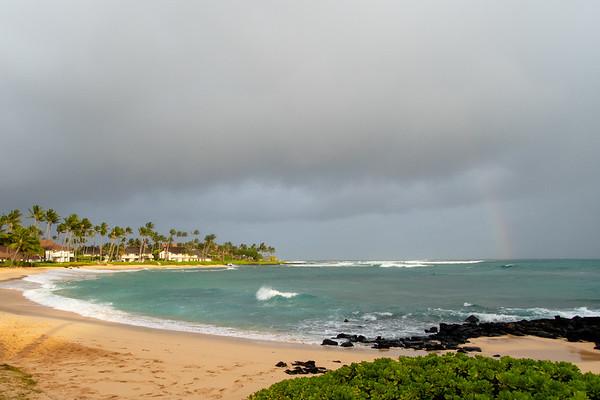 Sun, beach, rainbow