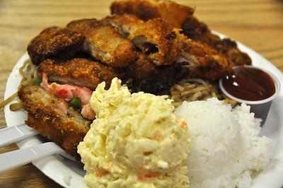 Heights Drive Inn fried noodles/katsu plate