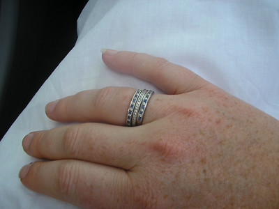 Johannna's new sapphire rings, the diamond band was a gift from Alex