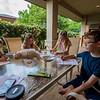 Ava, Kaitlyn, Hannah and Aaron doing homework at breakfast.