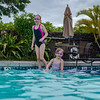 Hannah and Ava swimming at the Villages Pool on the night we arrived in the Big Island.