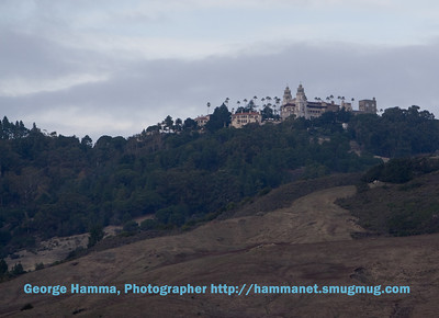The Hearst Castle viewed from the visitor center where you park, purchase tour tickets, view a movie (by National Geographic), visit the store, and look at a display prior to taking a bus ride to the Castle for a tour.