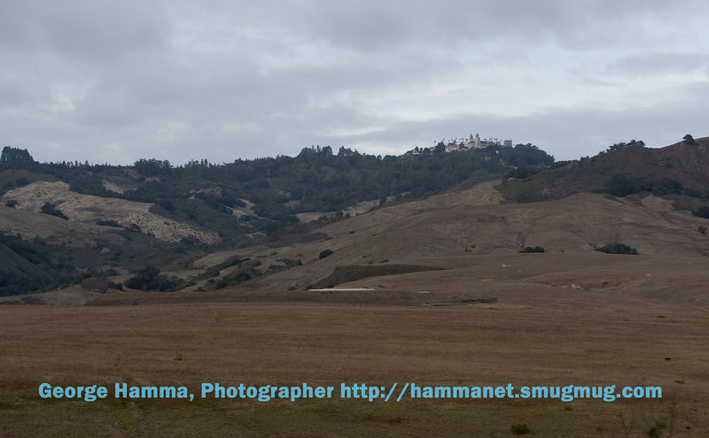 This is the view of the Hearst Castle from along Highway 1 on the California coast north of San Simeon.  When William Randolh Hearst inherited the 250,000 acre ranch from his mother in 1919, he began a building program that continued throgh 1947, when he stopped due to failing health.  Most of the buildings were designed by architect Julia Morgan.
