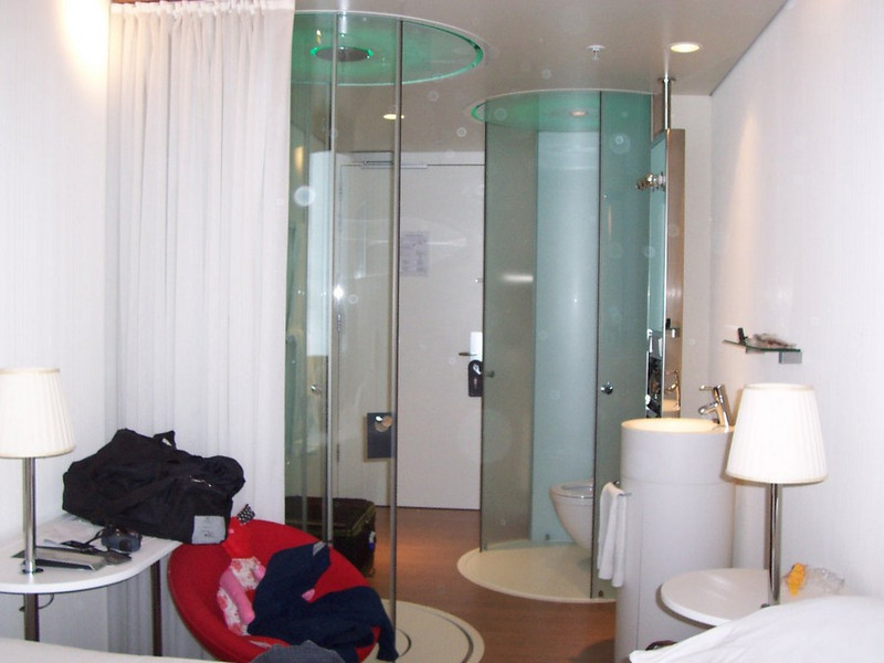 Our room at our super trendy hotel at Schiphol (the Amsterdam airport). Shower on the left, toilet on the right.