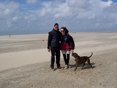 Scott, Marloes and Lucky. At low tide, this beach is at least a half mile wide from the dunes to the water's edge.