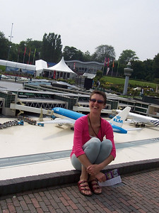 Caroline in front of Schiphol airport in Madurodam: a theme park with miniature models of famous places throughout Holland.