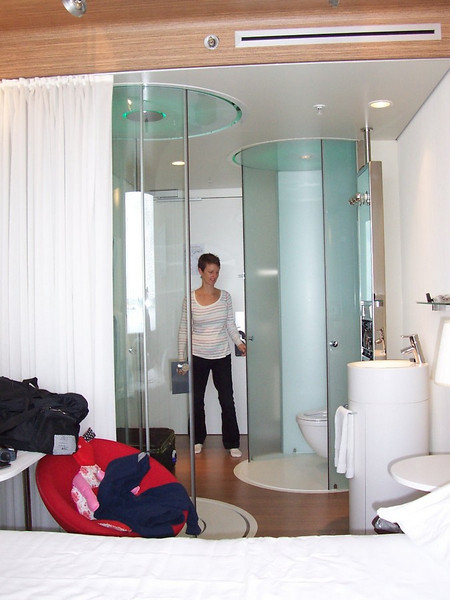 Our room at our hotel at Schiphol (the Amsterdam airport). Shower on the left, toilet on the right.