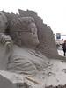 A sand sculpture in Scheveningen. Even though his nose fell off, you can still recognize Elton John.