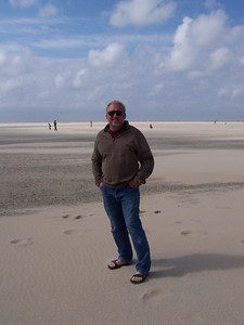 Chris on the beach at the north end of Texel. At low tide, this beach is at least a half mile wide from the dunes to the water's edge.