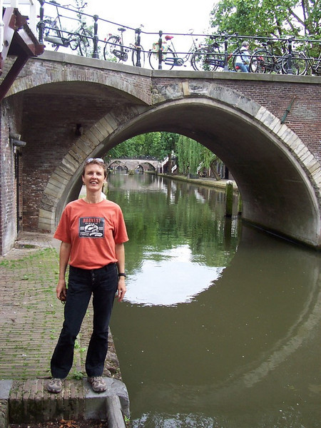 "Caroline along the Oudegracht (""Old Canal"") in Utrecht."