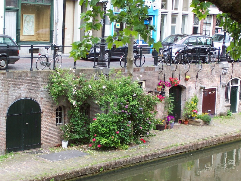 "Flowers along the Oudegracht (""Old Canal"") in Utrecht."