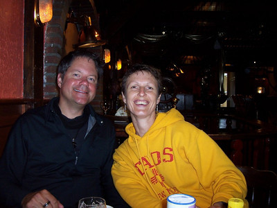 """Caroline and our friend Scott at brunch in the village of """"Den Hoorn"""" on the south end of Texel."""
