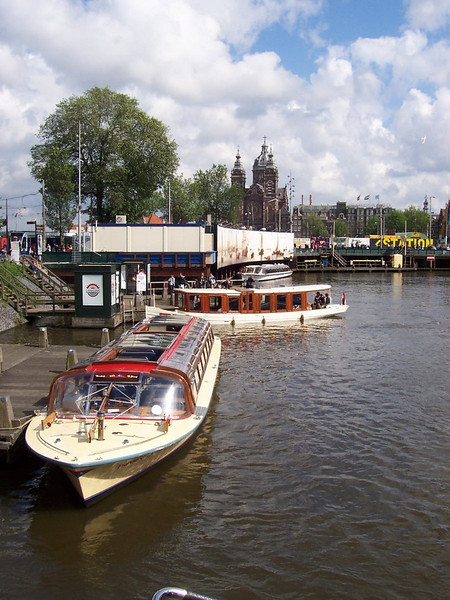 Canal tour boats in Amsterdam.