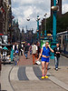 Walking in Amsterdam. This character in blue was just hanging out and talking on the phone. He was wearing some weird homemade version of the KLM flight attendant's uniform.
